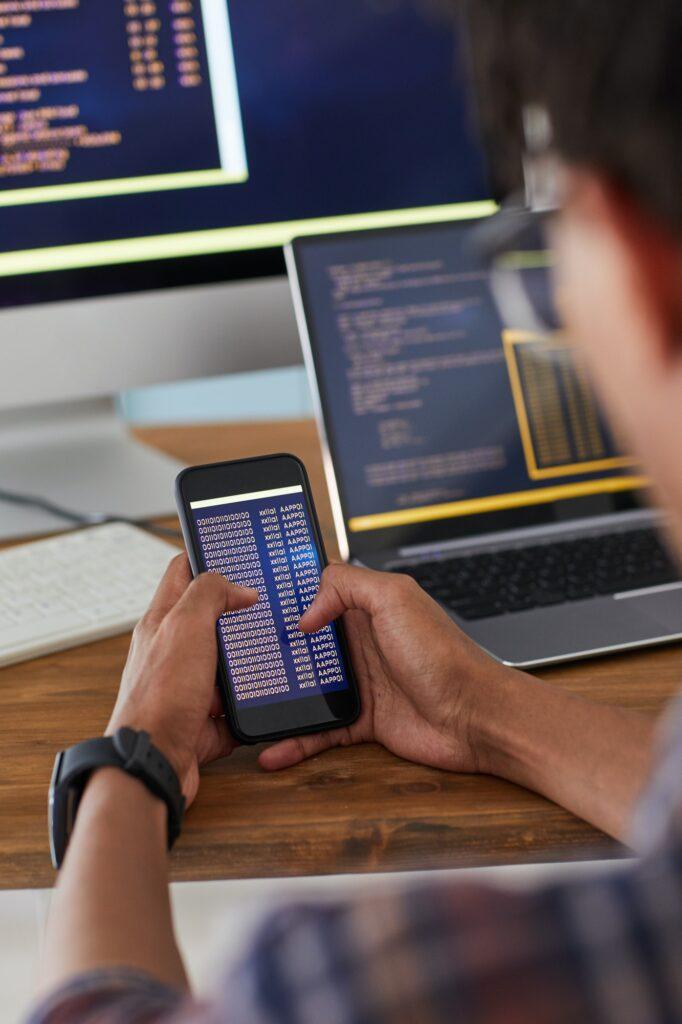 Mobile App Developer at Workplace Close Up
